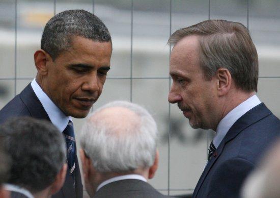 Prezydent USA Barack Obama w rozmowie z ministrem kultury Bogdanem Zdrojewskim