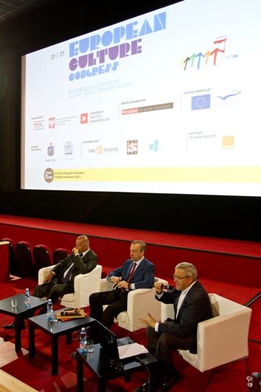 Minister kultury Bogdan Zdrojewski, Prezydent Wrocławia Rafał Dutkiewicz i Dyrektor NInA Michał Merczyński.