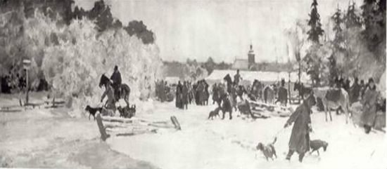 Julian Fałat (1853-1929), Przed polowaniem w Rytwianach, przed 1901 r.