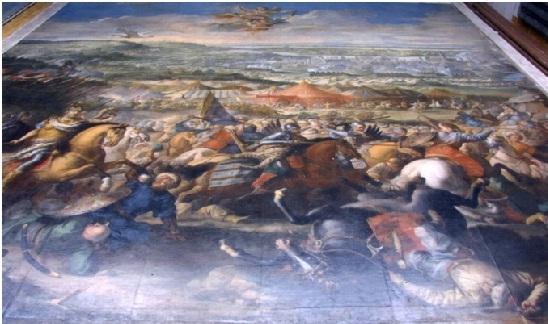 Obraz Bitwa pod Wiedniem w trakcie prac konserwatorskich