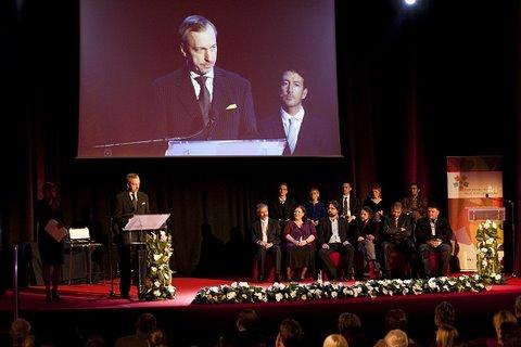Minister kultury Bogdan Zdrojewski podczas uroczystości wręczenia Europejskiej Nagrody Literackiej 2011
