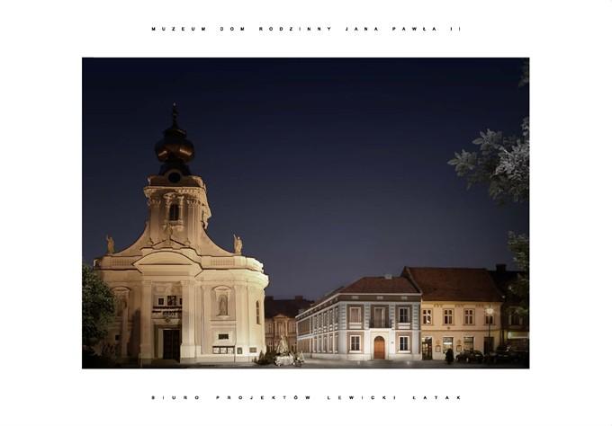 Wizualizacja nowej elewacji Muzeum Dom Rodzinny Ojca Świętego Jana Pawła II