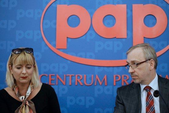 Agnieszka Odorowicz i minister Bogdan Zdrojewski podczas konferencji prasowej fot. Danuta Matloch