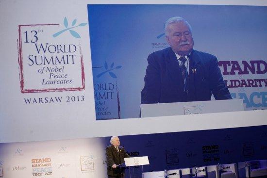 Wystąpienie Lecha Wałęsy - XIII Szczyt Laureatów Pokojowej Nagrody Nobla