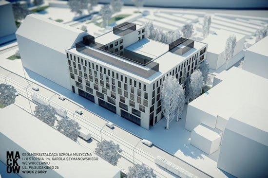 Wizualizacja budynku Ogólnokształcącej Szkoły Muzycznej I i II st. im. Karola Szymanowskiego we Wrocławiu