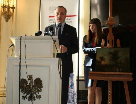 Uroczystość przekazania obrazu w Konsulacie Generalnym RP w Nowym Jorku. fot. Stanisław Pelc (KG RP w Nowym Jorku)