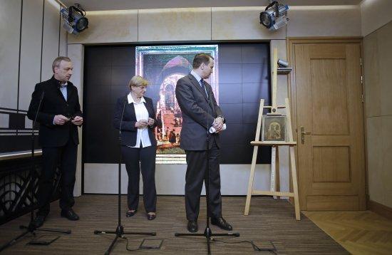 Uroczystość przekazania obrazu F. Guardiego Schody Pałacowe do Muzeum Narodowego w Warszawie. fot.: Danuta Matloch