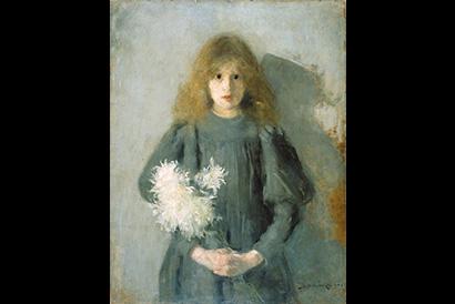 Olga Boznańska,  Dziewczynka z chryzantemami,  1894,  własność MNK