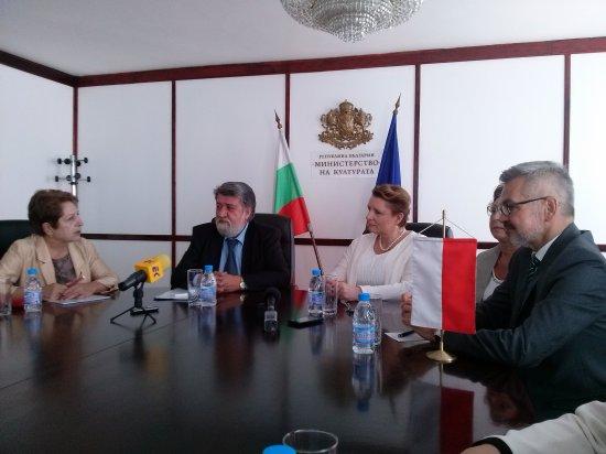 Minister Kultury i Dziedzictwa Narodowego prof. Małgorzata Omilanowska i Minister Kultury Bułgarii Vezdi Rashidov (po lewej)