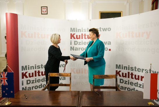 Na zdjęciu: Podpisanie umowy w sprawie kooprodukcji filmów. autor zdjęcia: Danuta Matloch