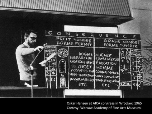 Oskar Hansen na kongresie Międzynarodowego Stowarzyszenia Krytyków Sztuki AICA we Wrocławiu,  1975. Fot.: S. Stepniewski