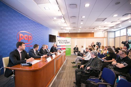 Na zdjęciu: Konferencja z udziałem ministra kultury prof. Piotra Glińskiego zapowiadająca festiwal Wschód Kultury. autor zdjęcia: Danuta Matloch
