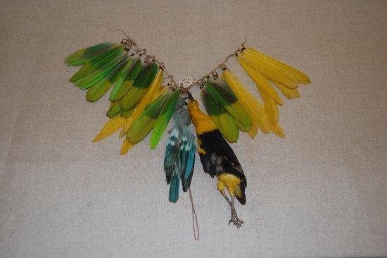 Na zdjęciu: Szarfa ozdobiona piórami i ptakami. Ucayali,  Montania,  Ameryka Południowa