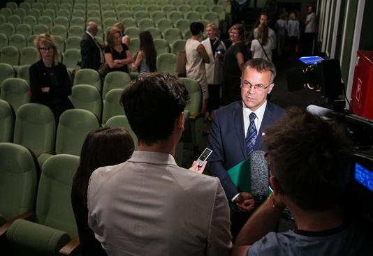 Na zdjęciu: Konferencja prasowa z udziałem wiceministra kultury Jarosława Sellina oraz dyrekcji i organizatorów 41. Festiwalu Filmowego w Gdyni. autor zdjęcia: Danuta Matloch