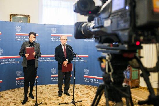 Na zdjęciu: Briefing prasowy z udziałem wiceminister Wandy Zwinogrodzkiej