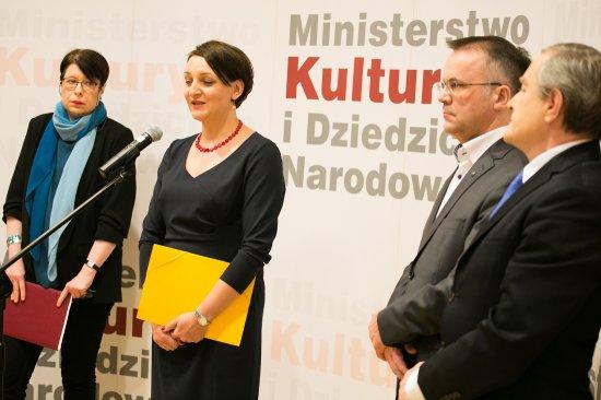Na zdjęciu: Podsumowanie 100 dni pracy resortu - konferencja prasowa MKiDN. autor zdjęcia: Danuta Matloch