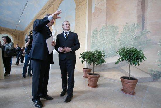 Na zdjęciu: Konferencja prasowa z udziałem wicepremiera, ministra kultury i dziedzictwa narodowego prof. Piotra Glińskiego na zakończenie remontu Starej Oranżerii. autor zdjęcia: Danuta Matloch