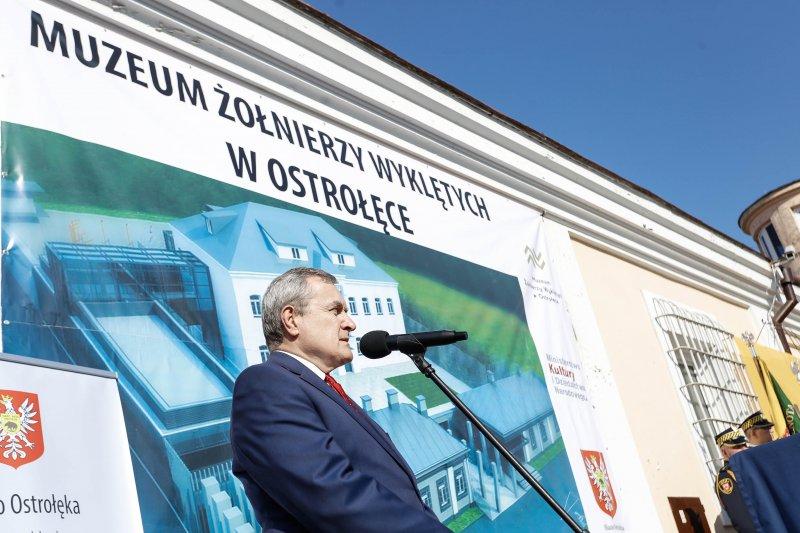 Na zdjęciu: Uroczystość wmurowania kamienia węgielnego pod budowę Muzeum Żołnierzy Wyklętych w Ostrołęce. autor zdjęcia: Danuta Matloch