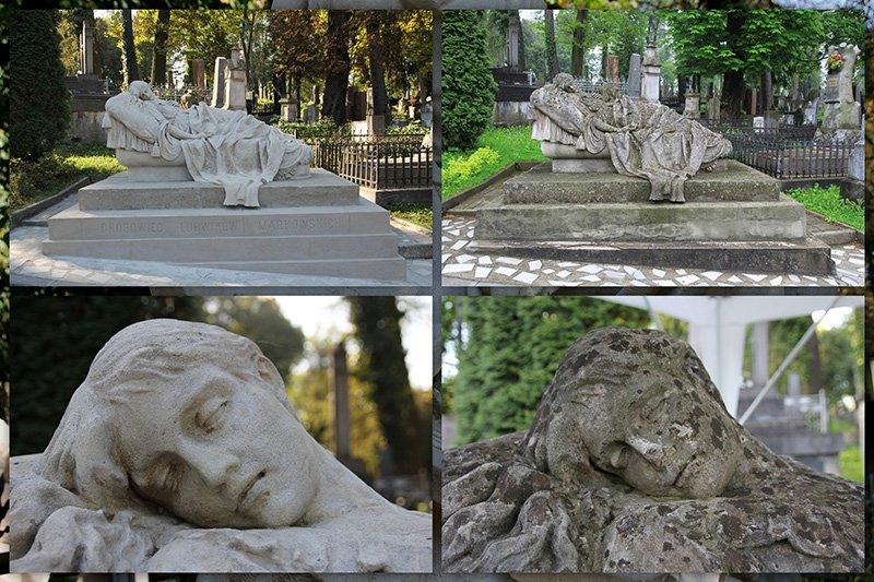 Grobowiec rodziny Markowskich na cmentarzu Łyczakowskim - zdjęcia sprzed i po renowacji. autor zdjęcia: A. Sztymelska-Karczewska