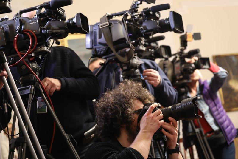 Na zdjęciu: Briefing prasowy dotyczący dotyczący wycofania obrazu Siemiradzkiego