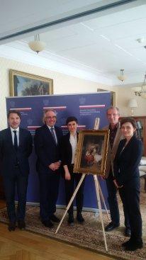 Na zdjęciu: Przekazanie obrazu Franciszka Mrażka do MInisterstwa Kultury i Dziedzictwa Narodowego