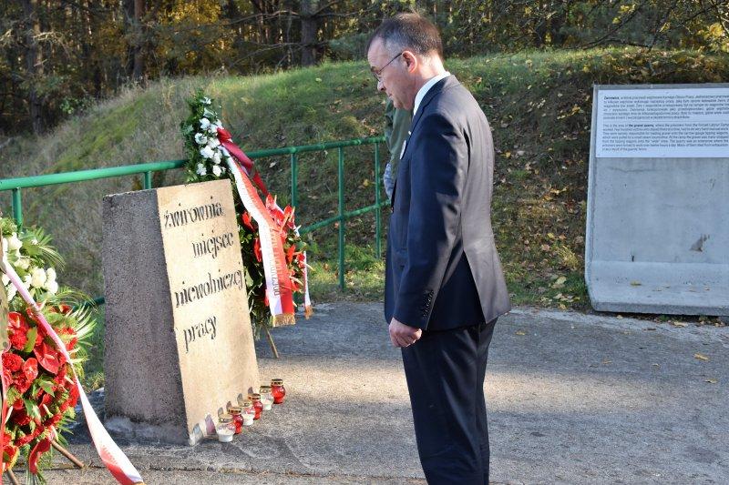 na zdjęciu wiceminister Sellin przed pomnikiem