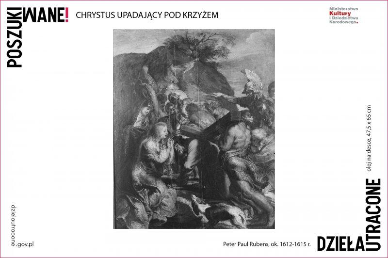 Chrystus upadający pod krzyżem,  Peter Paul Rubens,  ok. 1612-1615 r.,  olej na desce,  47,5 x 65 cm