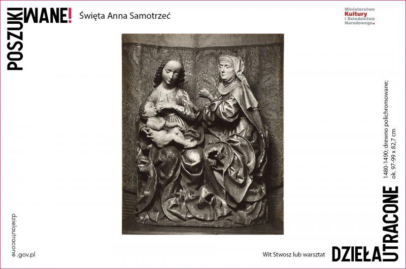 Święta Anna Samotrzeć, Wit Stwosz lub warsztat, 1480-1490; drewno polichromowane; ok. 97-99 x 82,7 cm