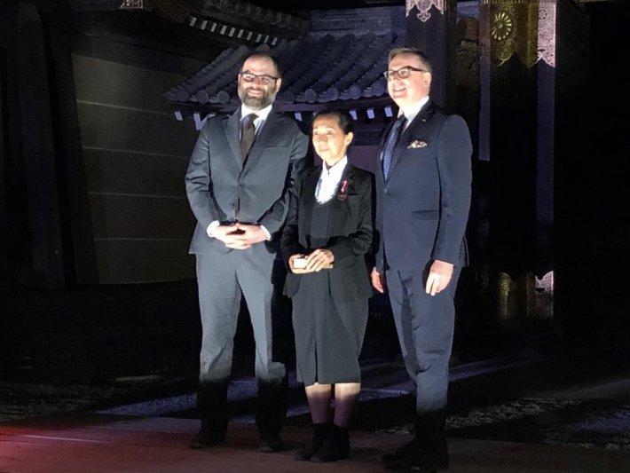 na zdjęciu wiceminister Lewandowski,  dyrektor IAM i prof. Kasuya