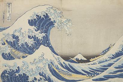 Katsushika Hokusai,  Pod wielką falą w Kanagawie,  1829–1833,  drzeworyt barwny,  Muzeum Narodowe w Krakowie,  z kolekcji Feliksa Jasieńskiego