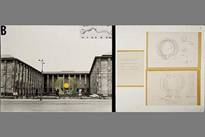 Marian Bogusz Projekt wejścia do Muzeum Narodowego od strony Alei Jerozolimskich,  1971 kolaż,  fotografia,  druk,  flamaster,  papier na sklejce